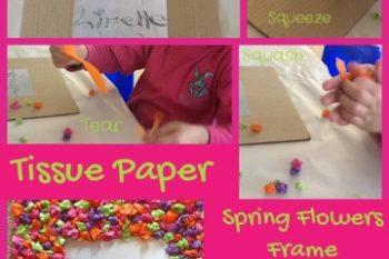 Tissue Paper Spring Flower Frame