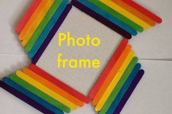 Rainbow Photo frame from Craft sticks