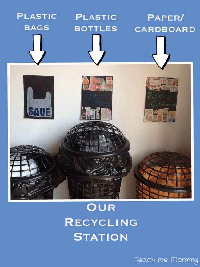 Recycling station at home with clothes bins
