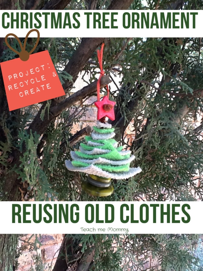 christmas tree ornament reusing old clothes