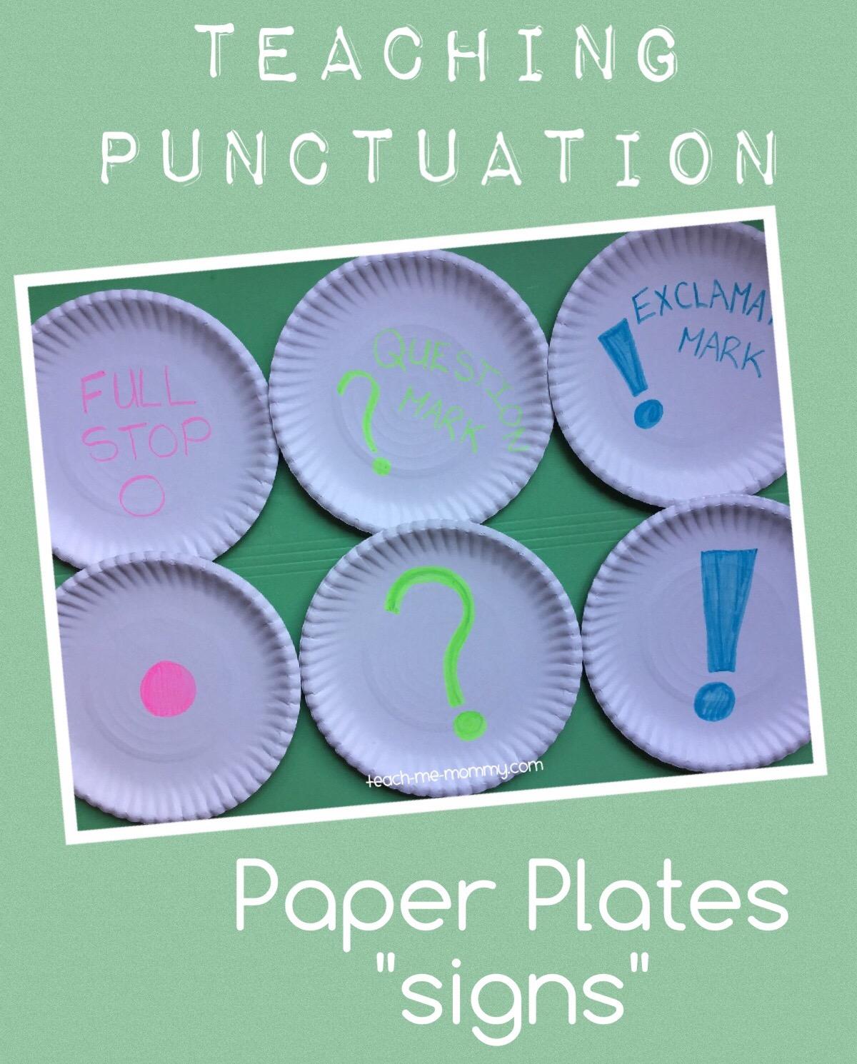 (punctuation paper plates)