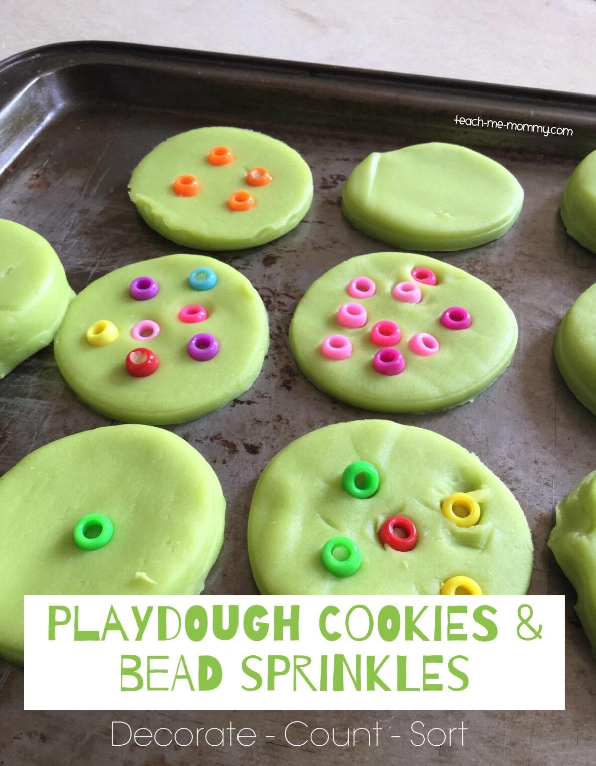 playdough cookies and bead sprinkles