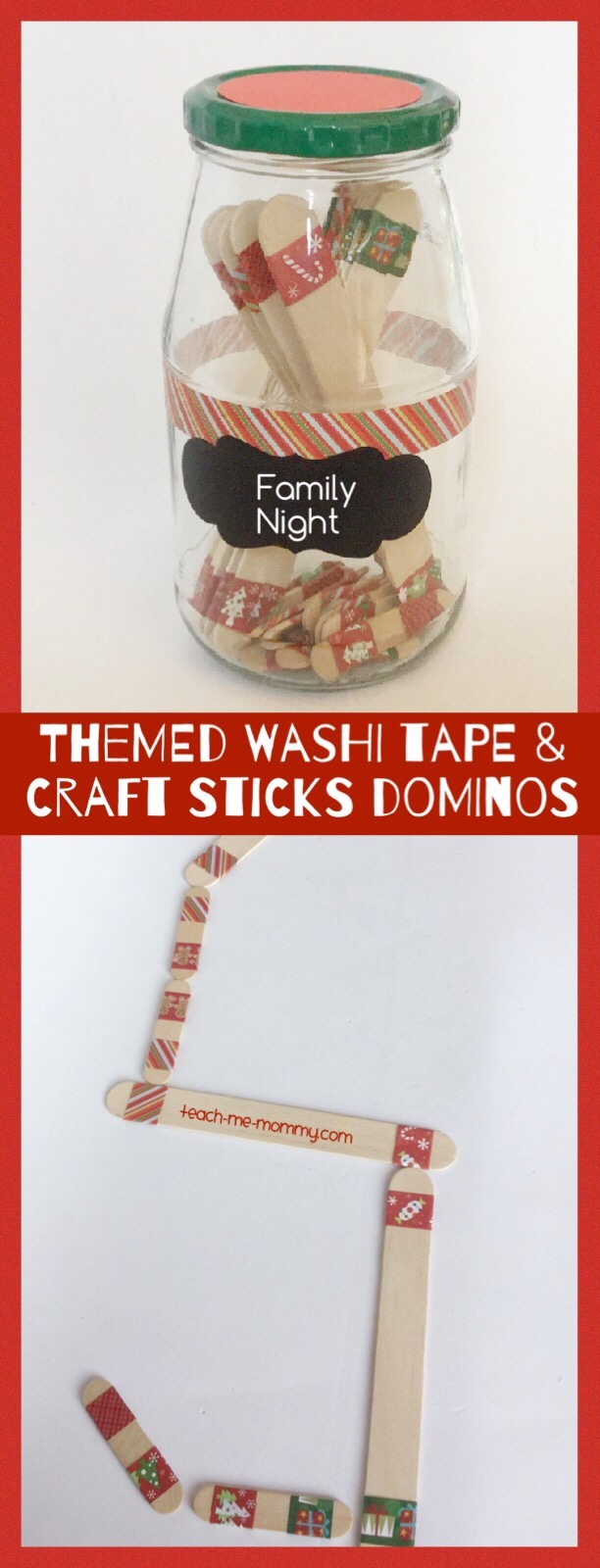 Washi Tape & Craft Sticks Dominoes - Teach Me Mommy