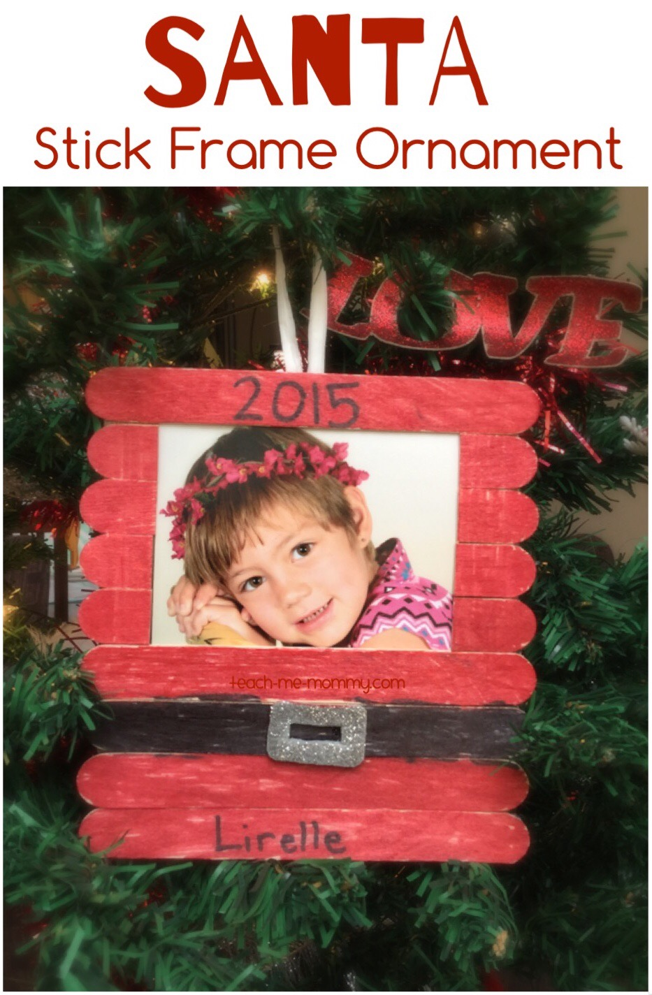 Santa craft sticks photo frame teach me mommy for Popsicle stick picture frame christmas