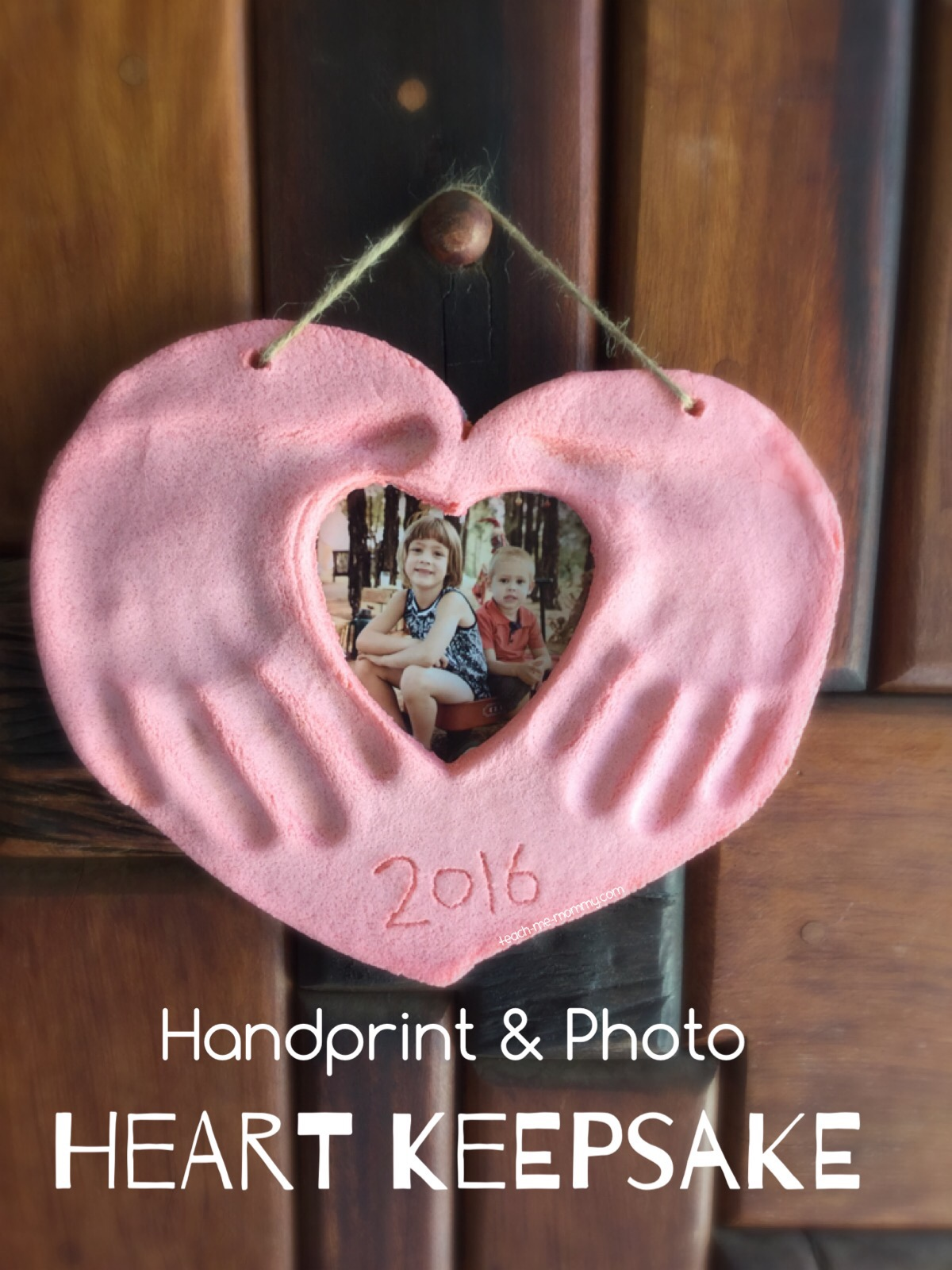 handprint & photo heart keepsake