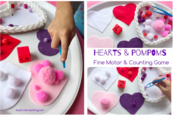 Hearts & Pompoms Counting Game