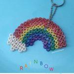 Rainbow Perler Bead Keyring