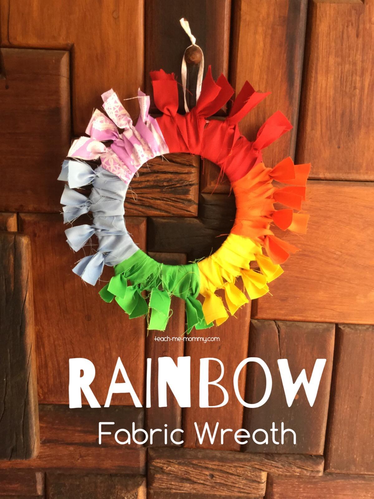 rainbow fabric wreath