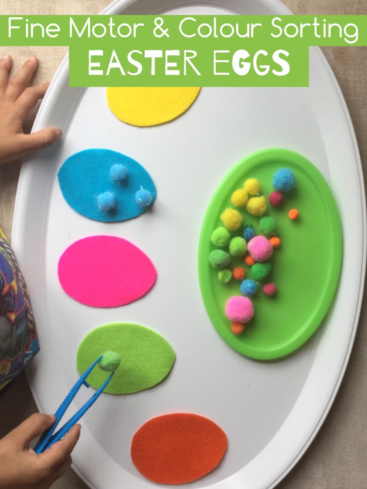 Fine Motor & Colour Sorting Eggs - Teach Me Mommy