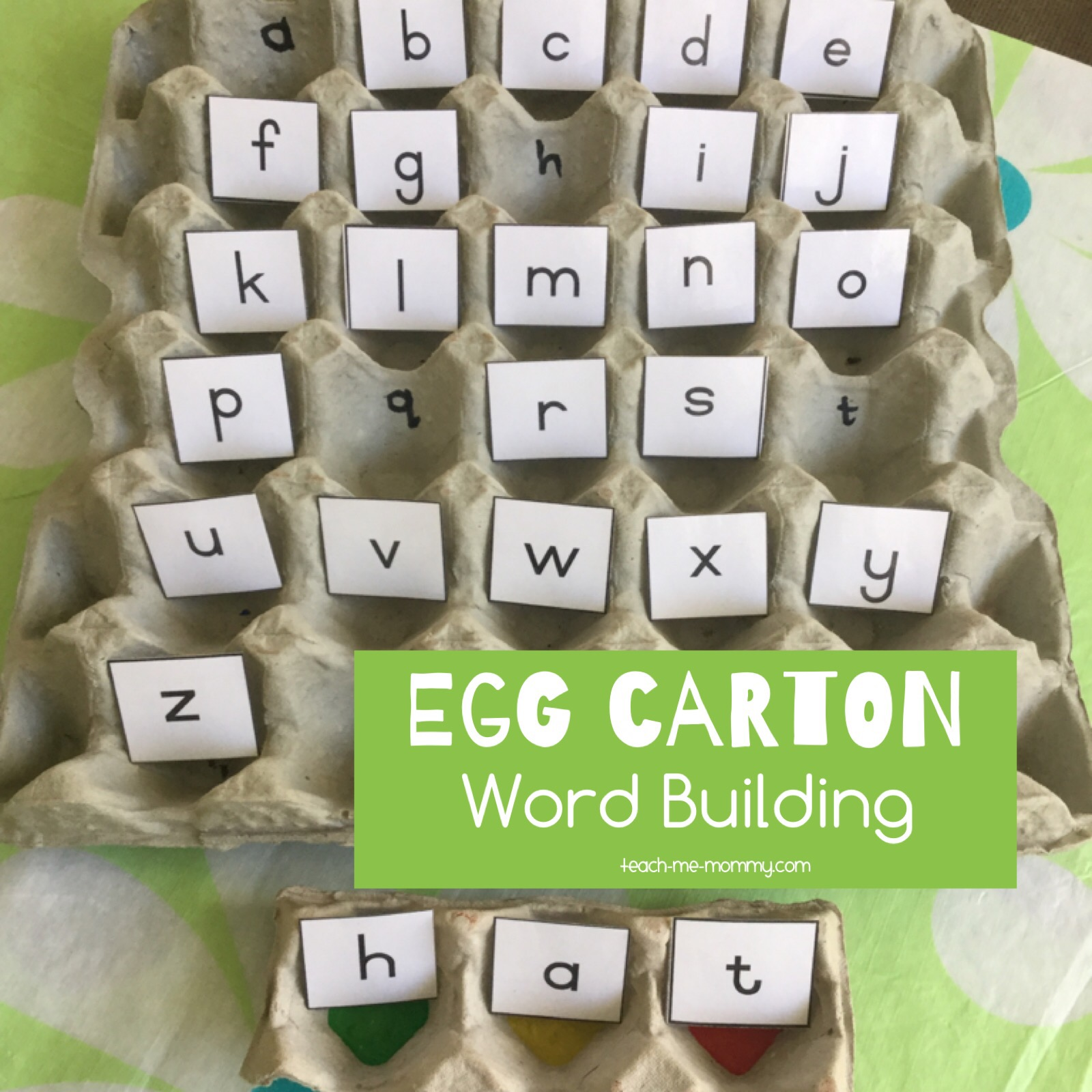 word building with egg cartons