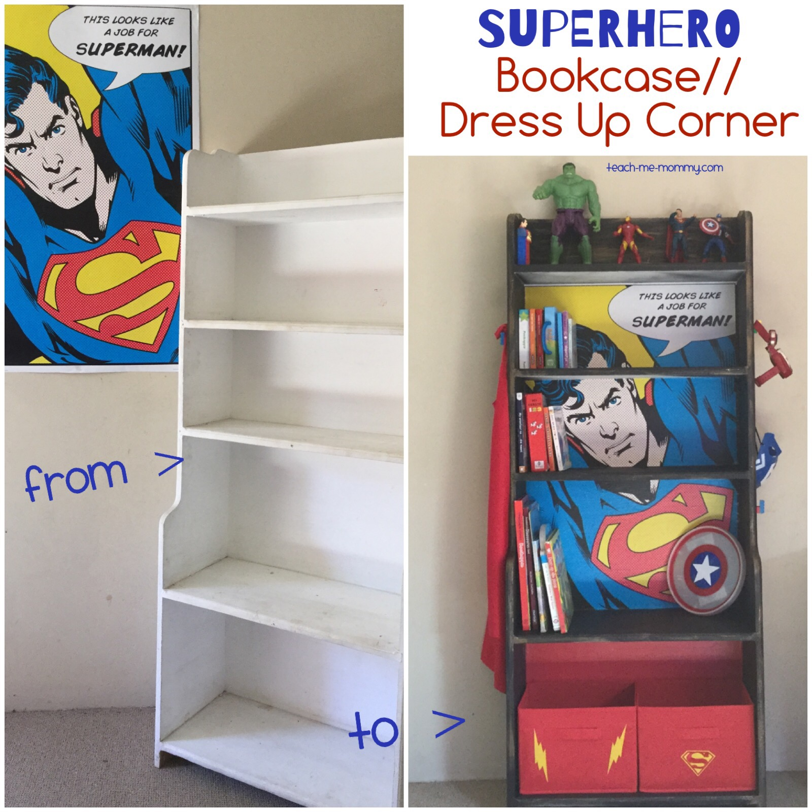 Superhero Bookcase Dress Up Corner