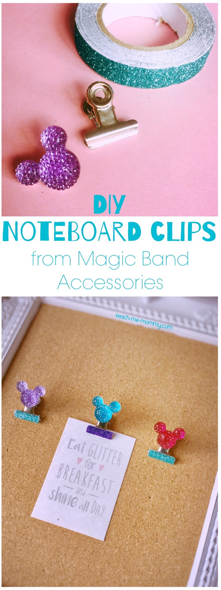Noteboard clips from Magic Band accessories
