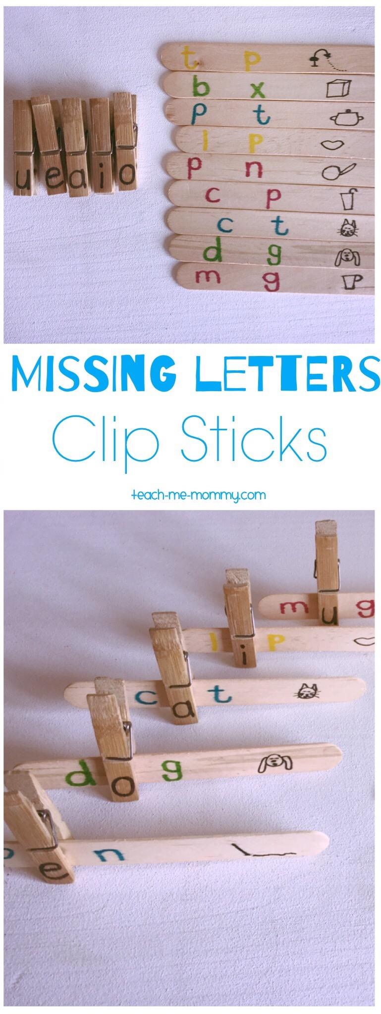 Missing letter clip sticks