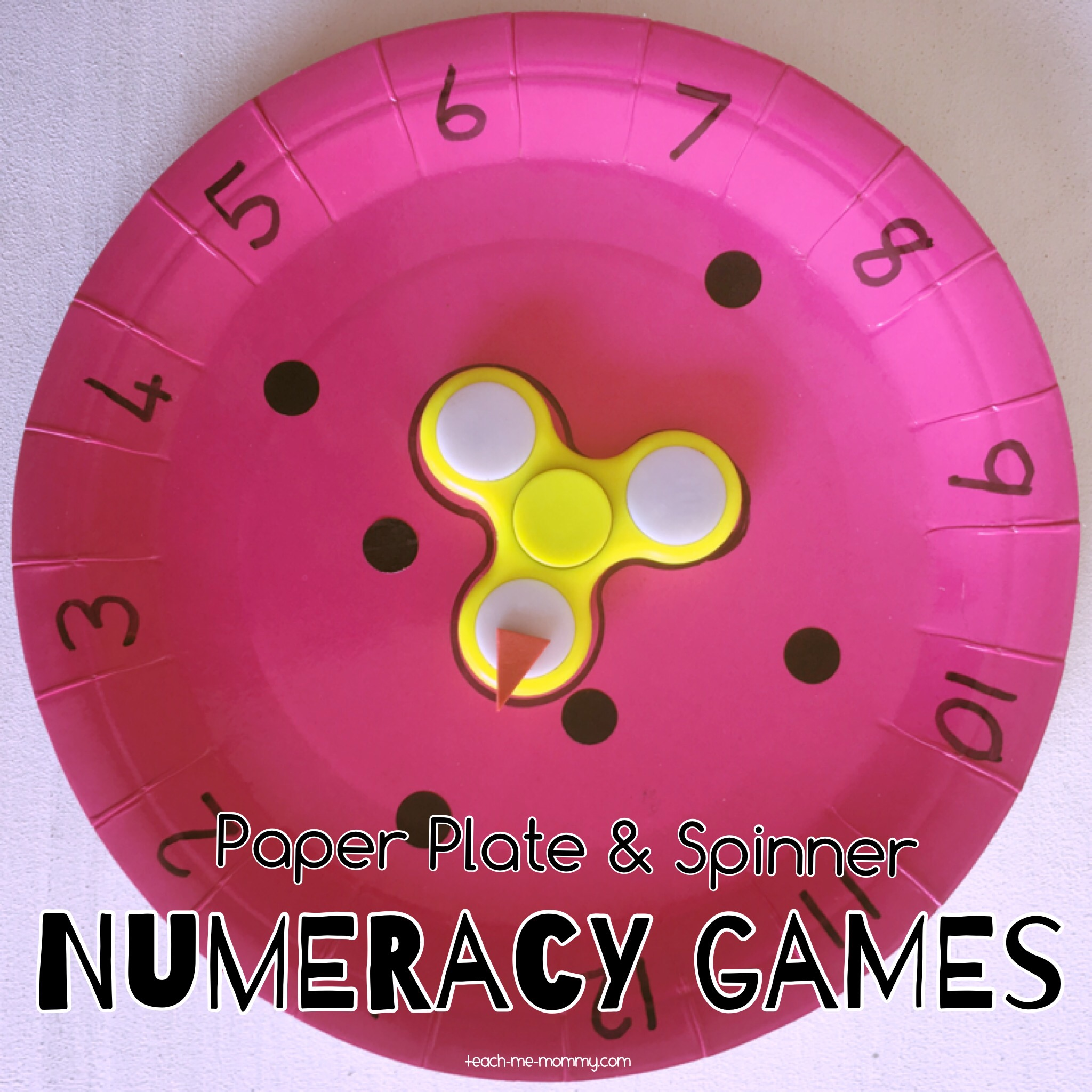 Paper Plate and spinner numeracy games