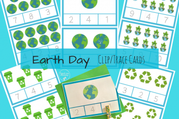 Earth Day Clip/Trace Counting Cards