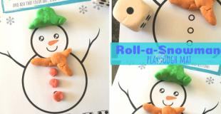 Roll-a-Snowman Playdough Mat