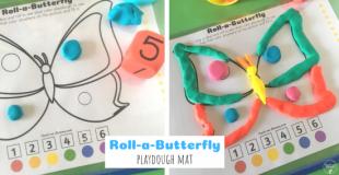 Roll-a-Butterfly Playdough Mat