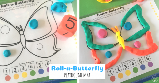 Roll-a-Butterfly Playdough Mat