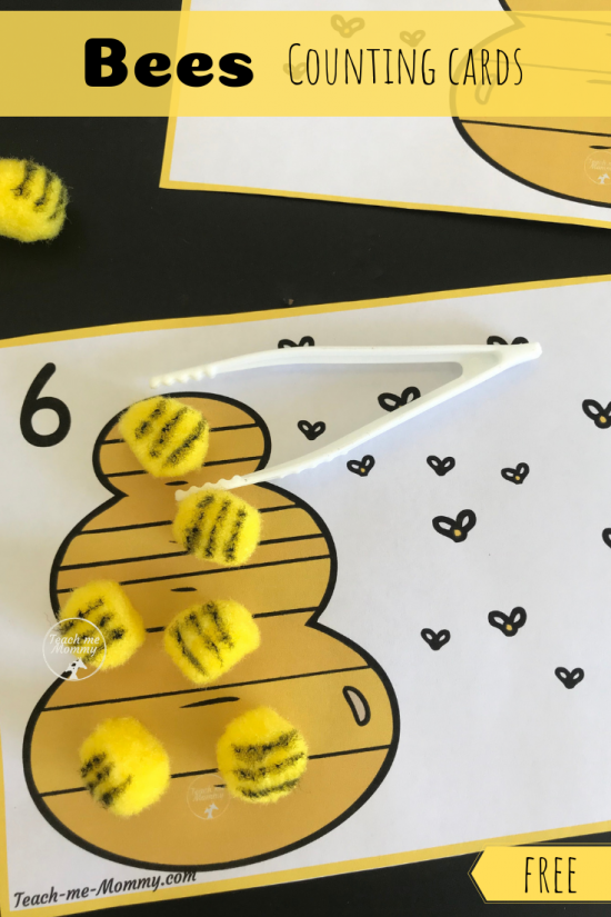 Bees Counting Cards pin