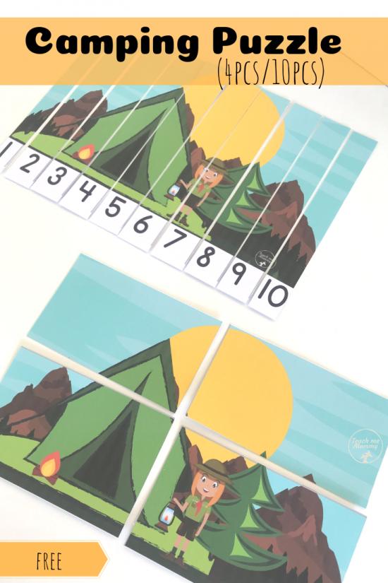Camping puzzle pin