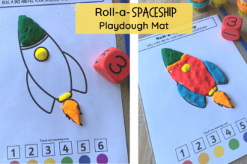 Roll a Spaceship Playdough Mat