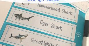 Shark Names Writing Practice