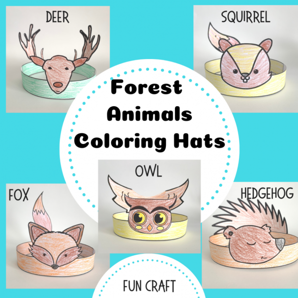 Forest Animal Coloring Hats in store