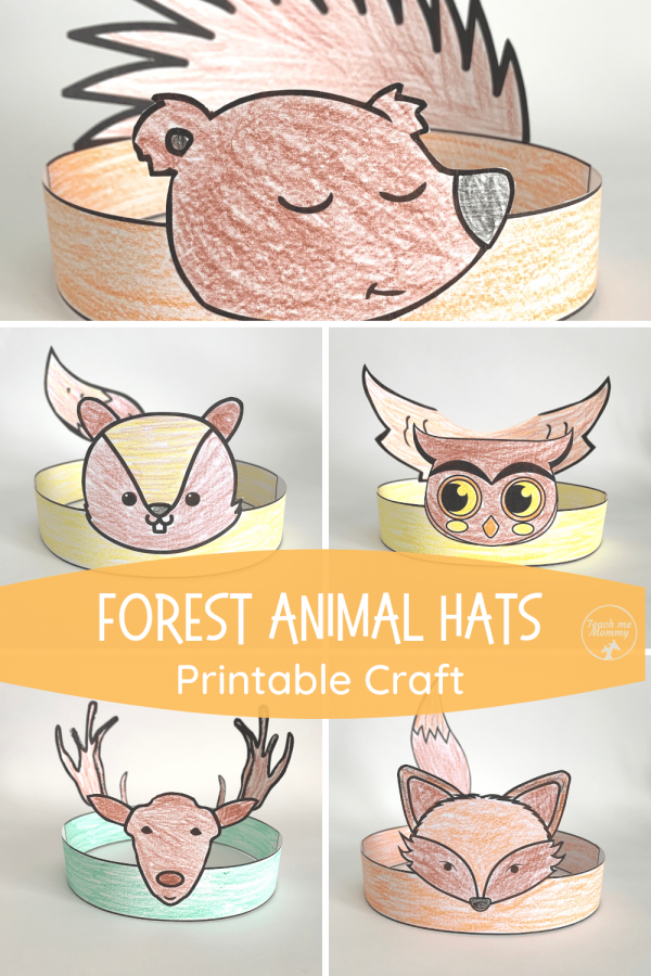 Forest animal hats craft pin