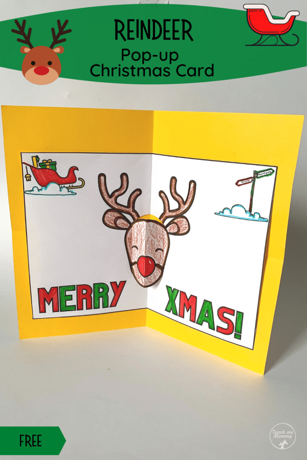 Reindeer Pop-up Christmas Card pin