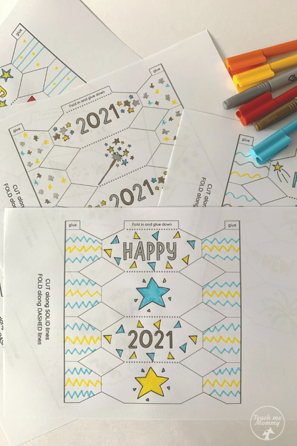 Color-in New Year Crackers/Bonbons