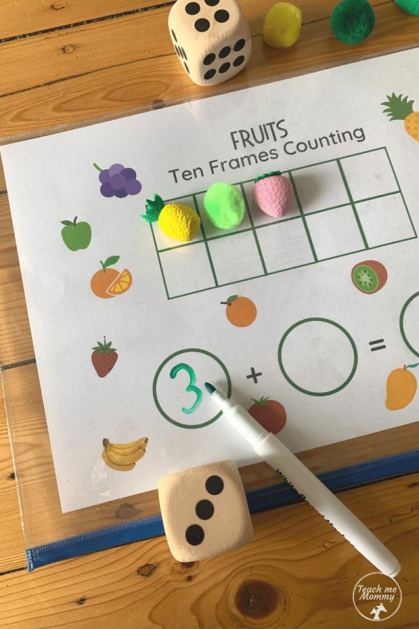 Fruit Ten frames activity