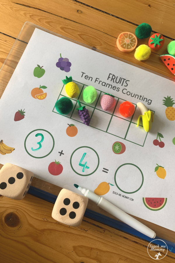 Fruit Ten frames counting  activity