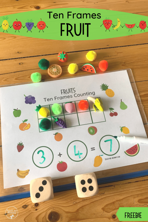 Fruit Ten Frames pin