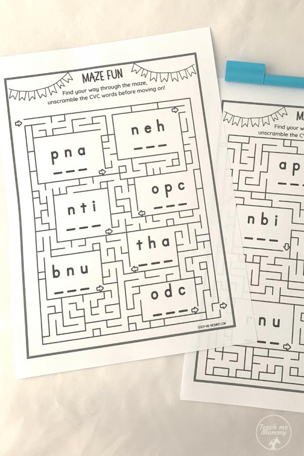 CVC word mazes