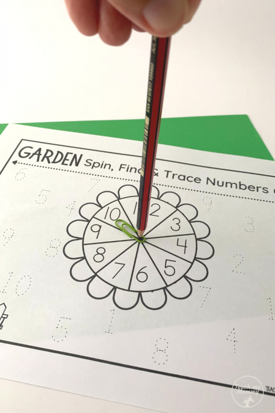 Garden Spin Trace Numbers activity