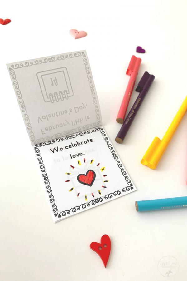 Valentine's Day mini book color-in
