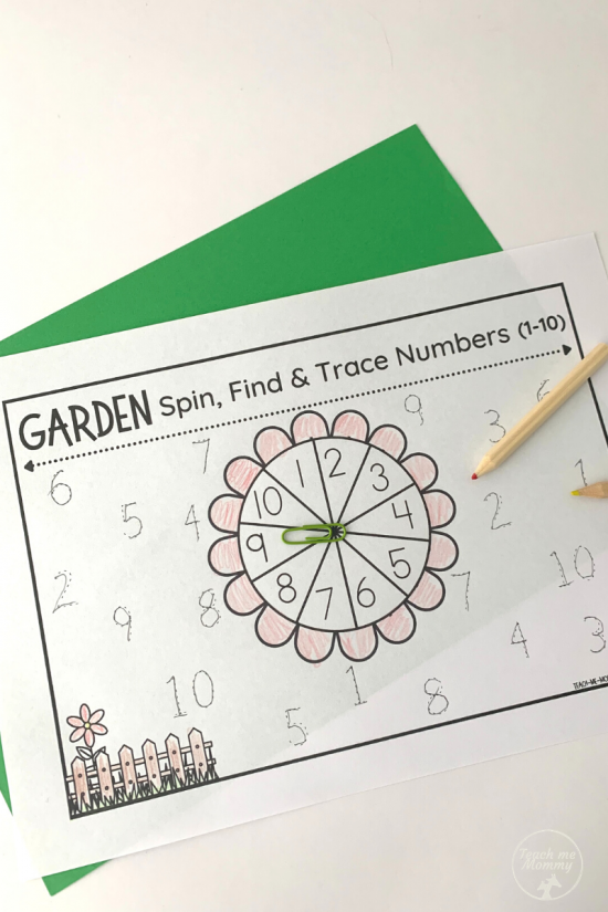 Garden Spin Trace Numbers worksheets