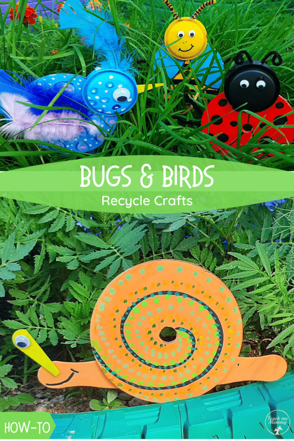 Bugs and birds recycle crafts pin