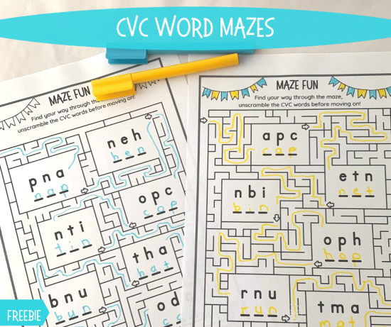CVC Word Mazes fb