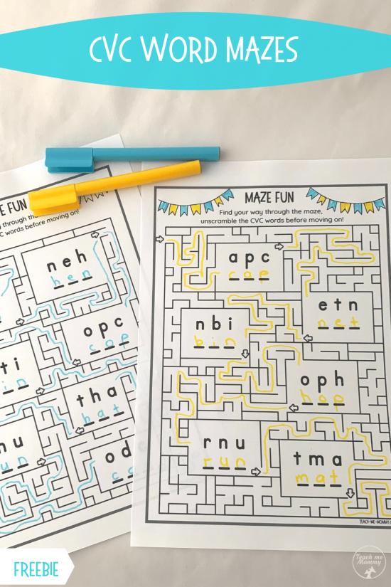 CVC Word Mazes pin