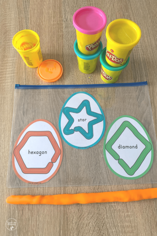 Easter egg shapes playdough activity
