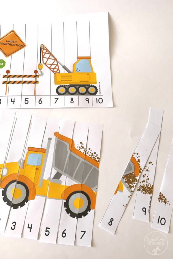 Printable Construction number puzzles