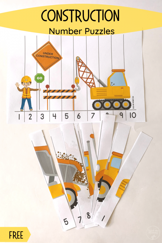 Construction number puzzles pin