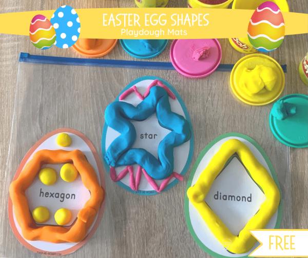 Easter egg shapes playdough mats