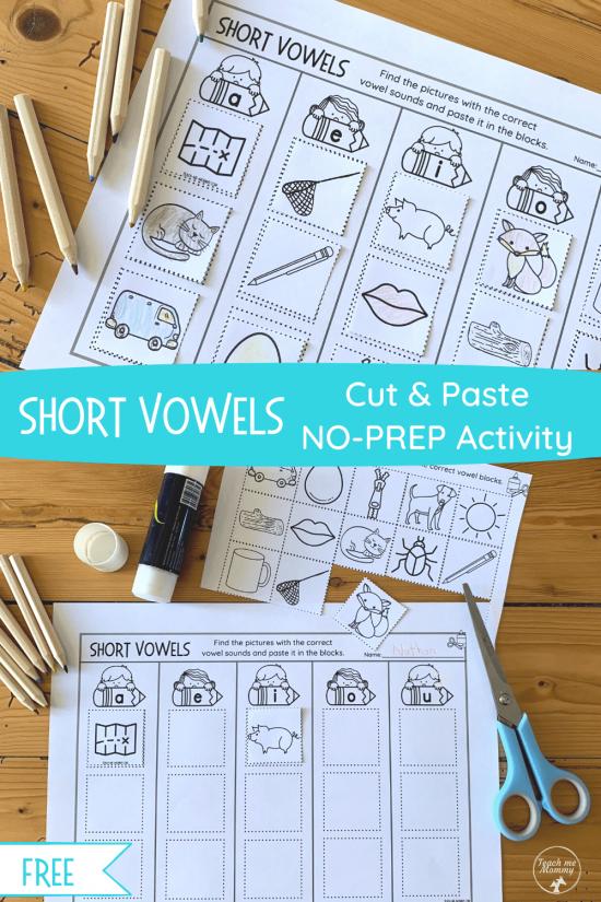 Short Vowels Copy & Paste activity pin