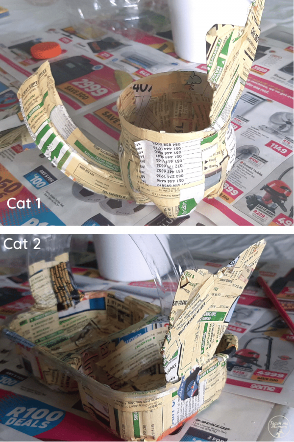 Paper Mache Cat stationery containers