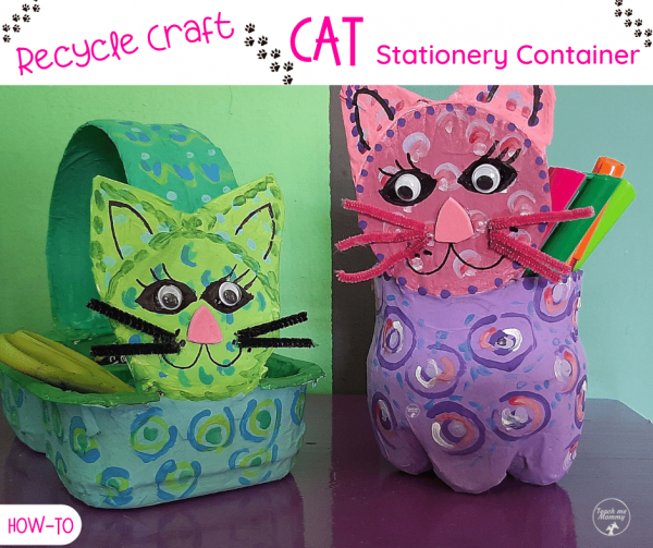 Recycled Cat stationery containers