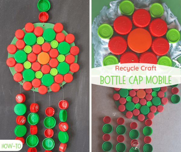 Bottle Cap Mobile Recycle Craft fb