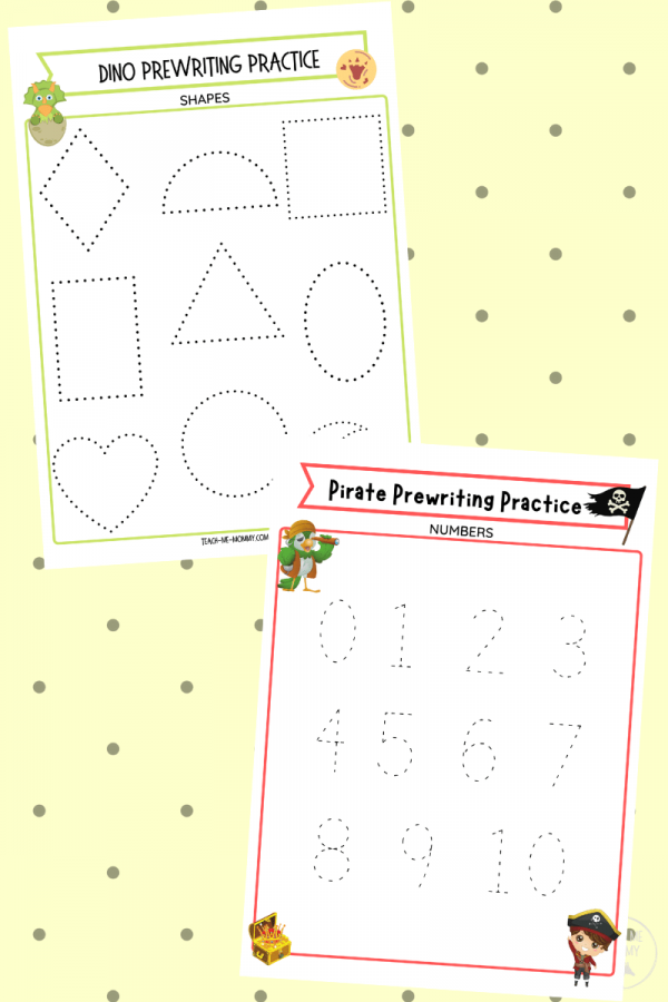 Prewriting shapes and numbers